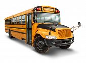 image of lift truck  - School bus for student transport service for elementary and high school students with a yellow and black painted vehicle as an education symbol of safe children transportation on a white background - JPG