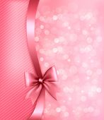 Holiday Pink Background With Old_paper And Gift Bow And Ribbon. Vector