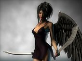 black angel with sabers
