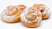 Group Of Delicious Cinnamon Rolls Icing Sugar Isolated
