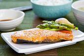 image of sauteed  - Grilled Salmon with sauteed vegetables rice and Miso soup - JPG