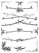 picture of asymmetric  - Set of border and corner asymmetric decoration from bamboo in the Asian style drawn by ink - JPG