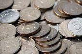 cinco moedas de rublo