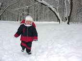 Run Boy In Winter Wood