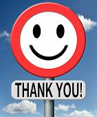 image of gratitude  - thank you thanks expressing gratitude note on a road sign - JPG