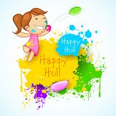 Illustration of kids playing holi with color and balloon