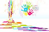 Illustration of Holi wallpaper with colorful hand prints