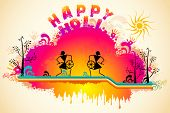 Illustration of people dancing in warli art style in Holi background
