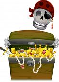 Illustration of a Pirate Skeleton Opening a Treasure Chest