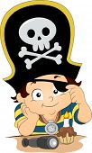 stock photo of kiddy  - Illustration of a Boy celebrating his birthday wearing a Pirate Hat and Eyepatch - JPG