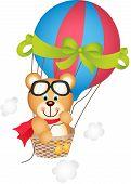 Hot air balloon with teddy bear