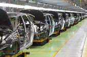 TOGLIATTI - SEPTEMBER 30: Row of new bodies for Lada Kalina at Avtovaz factory on September 30, 2011 in Togliatti, Russia. AvtoVAZ won contest