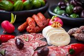 stock photo of cheese platter  - Catering platter with cheese and Antipasti - JPG