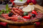 Catering platter with antipasti and fingerfood