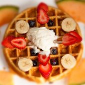 Waffle,ice Cream, And Fruits