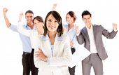 stock photo of victory  - Successful business woman leading a team  - JPG