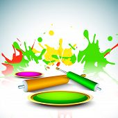 Indian colorful festival Holi celebration background with colors splash and color gun (pichkari). EP