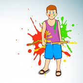 Indian colorful festival Holi celebration background with young boy holding color gun (pichkari)  EP