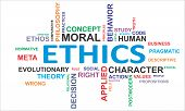 picture of morals  - A word cloud of ethics related items - JPG