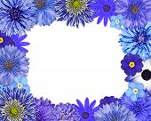 Flower Frame With Blue, Purple Flowers On White