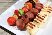 Skewers With Sausage Cheese And Vegetables