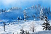 Sking Chairlifts At Snoqualme Pass Washington
