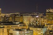 San Francisco's Nob Hill and Twin Peaks at Night.