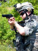 Soldier Aiming His Gun