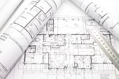 stock photo of architecture  - photo of Architecture plan and rolls of blueprints - JPG
