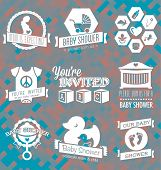 stock photo of webbed feet white  - Collection of baby shower invitation labels in a retro style - JPG