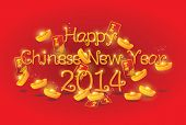 Happy Chinese New Year 2014 with ingots