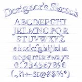 pic of hand alphabet  - Vector designer sketched font alphabet on white - JPG