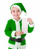 Little Green Santa Claus Boy Showing Wish List