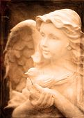 Angel statue with wings holding a little bird