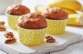 Banana Muffins In Paper Cupcake Case