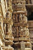 Human Sculptures At Vishvanatha Temple, Khajuraho, Madhya Pradesh, India-UNESCO world heritage site.