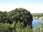 Views from atop the bluffs looking out towards Illinois River at Starved Rock State Park