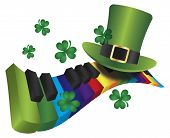 pic of rainbow piano  - St Patricks Day Leprechaun Hat with Rainbow Colors Piano Wavy Keyboard Isolated on White Background Illustration - JPG