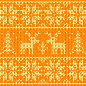 Orange knitted sweater with deer seamless pattern