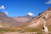 picture of aconcagua  - Cross standing on the rock near Aconcagua National Park - JPG