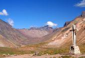 pic of aconcagua  - Cross standing on the rock near Aconcagua National Park - JPG