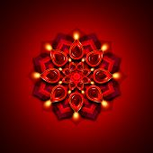pic of rangoli  - rangoli with diwali diya elements over dark red background - JPG