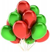 Birthday balloons party decoration colorful red green. Joy fun positive emotion