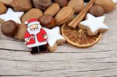 Christmas background with Santa Claus and more