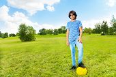 Boy Standing With Soccer Ball