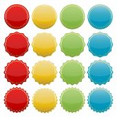 picture of starburst  - set of blank colorful starburst seals - JPG