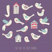 Vector element set of 13 cute birds