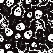 Death skull halloween skeleton illustration background pattern in vector