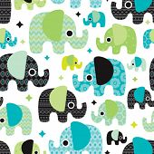 stock photo of girly  - Seamless retro elephant baby boy pattern wallpaper background in vector - JPG