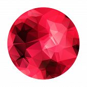 Abstract geometric polygonal red sphere.